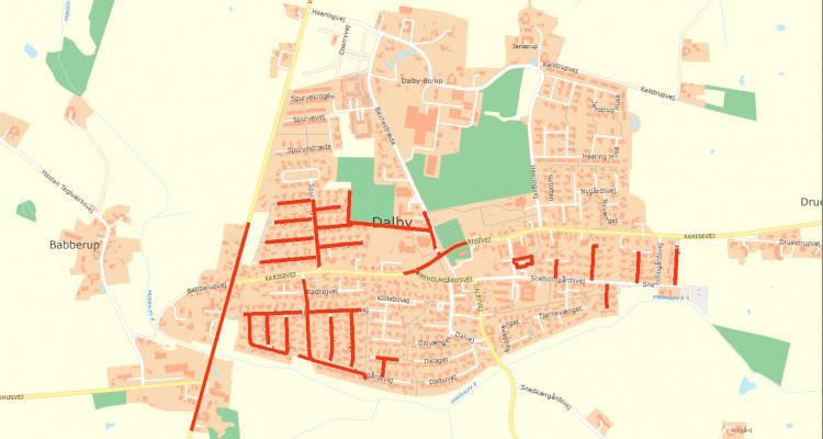 Udskiftning af gadebelysning i Dalby 2019