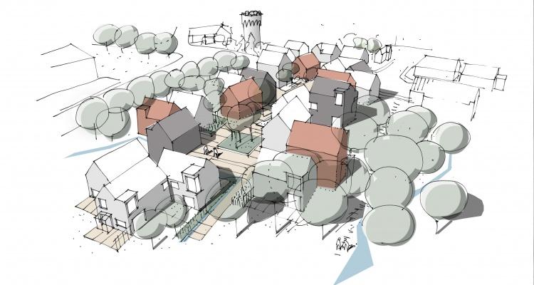 Perspektivtegning af boligområdet